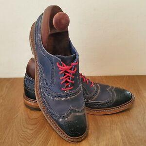 Allen Edmonds Neumok Mens Blue Leather Wing Tip Oxford Dress Shoes Size 8 E