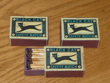 3 Vintage BLACK CAT Safety Matches Box - Wooden Matches