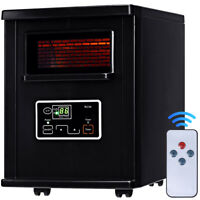 Goplus 1500W Electric Portable Infrared Quartz Space Heater Filter Remote Black