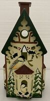 Lenox Winter Greetings Red Roof Metal Bird House  Votive Light Candle Holder
