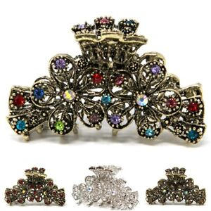 USA Large rhinestones flowers metal wedding Hair Claw Clip Pin for Thick Hair