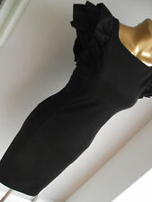 TED BAKER 4 BLACK BODYCON FITTED RUFFLE SLEEVE XMAS PARTY NEW YEARS EVE DRESS 14