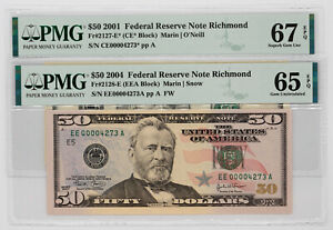 2-$50 FEDERAL RESERVE NOTES RICHMOND MATCHING SERIAL NUMBERS PMG GEM UNC 65/67