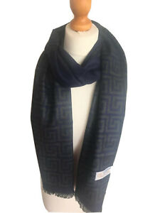 Men Soft Warm Stylish Navy Ancient Greek Symbol Fringed 100% Cashmere Scarves