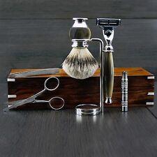Deluxe 7 Piece Men's Shaving & Grooming Set | Gillette Mach3 & Silver Tip Brush