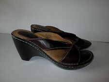 Brown's Landing BROWN LEATHER STRAPPY WEDGE SHOES 7M Miss Y Mules 7