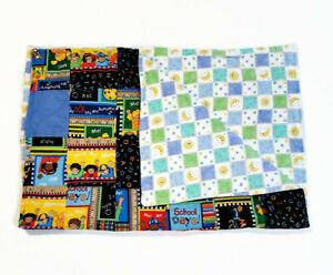 Handmade Baby Quilt Blanket Reversible Unique Multicolor School ABCs Moon Stars
