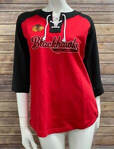 Womens NHL Hockey Chicago Blackhawks Tie up Red Black Sweater Size S Small M Med
