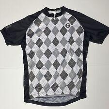Men's Twin Six Cycling Jersey - Black White Gray Plaid - Size Large