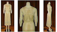 Vintage 1930's Sheer SILK Crepe Embroidered LACE BIAS Cut Wedding Dress