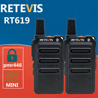 Retevis MINI Walkie Talkie Two Way Radio*2 PMR446 RT619 1300mAh long range VOX