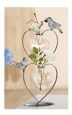 Dekoherzvase Metallvase Blumenvase Tischvase Zwei Vögeln grau matt 18x10x29 Cm