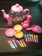 Disney Princess Play Tea Set Storage Plates Bowls Utencils Cups Kettle Pan+