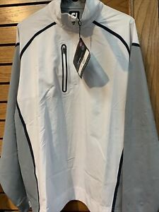 Footjoy Wind Tech 1/2 Zip Pullover White/grey/navy Size Large