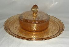 Jeannette FLORAGOLD IRIDESCENT * CANDY/CHEESE DISH w/LID ON INDENT TRAY/PLATE*