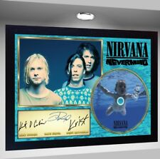 Nirvana Dave Grohl Kurt Cobain Krist SIGNED FRAMED PHOTO CD Disc Perfect gift