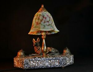 Vintage 1940s bronze mosaic marble ink well set desk light Opaline marbled glass