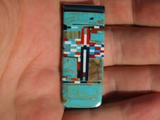 Turquoise and Red Coral Southwestern Money Clip Made in New Mexico
