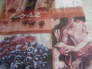 4 rose wine and lovers decoupage napkins