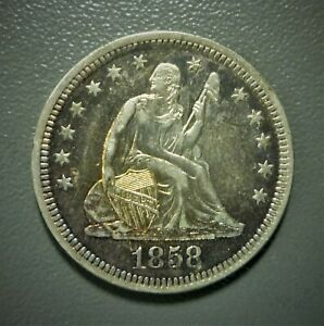 1858 Seated Liberty Quarter GEM BU