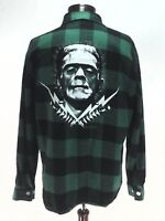 FRANKENSTEIN Flannel Shirt Universal Monsters Green Black Buffalo Plaid Men's XL