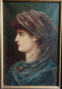 TABLEAU ancien 19ème signé CHARLES GOUTZWILLER Peinture huile HST FEMME portrait