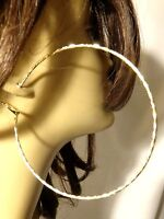 LARGE 3.75 INCH SIMPLE THIN HOOP EARRINGS GOLD OR SILVER TONE WAVY TEXTURE HOOPS