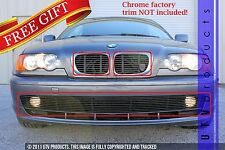 GTG 2001 - 2003 BMW 3 Series 3PC Gloss Black Combo Billet Grille Insert Kit