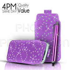 DIAMOND BLING LEATHER PULL TAB CASE COVER POUCH SLEEVE & PEN FOR VARIOUS PHONES