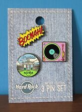 Hard Rock Café Brussels 3 Pin Set ~ Turntable Deck & BOOYAH! ~ NEW LE ~ HRC 2017
