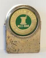Vintage Muskogee, Oklahoma Porter Crew Drug Brass Magnetic Clip Pharmacy