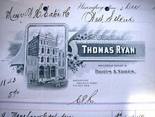THOMAS RYAN, WEST SELKIRK CANADA 1894 BOOTS SHOES Beautiful Vintage Letter Head