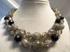 (Germany) Vintage Double-Strand Assorted Size/Shape Gray Lucite Necklace 15N451