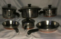 REVERE WARE 1801 COPPER BOTTOM 10 PIECE SET; 4 Pots, 2 Skillets, & Lids fit All