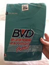 BVD Mens Pocket Tee T-Shirt Turquoise Blue Vintage 1990 Preshrunk Cotton XXL 2XL