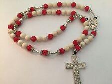 Red Cream Rosary Necklace Beads High Quality Rosario Sinaloense Rojo Crema Bolas