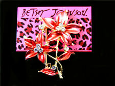 crystal Bauhinia Brooch Pin Gift Betsey Johnson Elegant Enamel Lovely