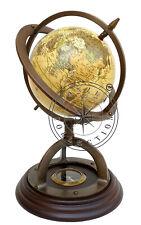 "11"" Antique Brass World Map Desk Globe With Wooden Compass Base Nautical Decor"