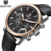BENYAR Men Date Luxury Leather Band 30m Military Sport Quartz Wrist Watch Gift