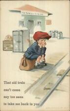 Charles Twelvetrees - Boy Waiting RR Train at Station c1915 Postcard