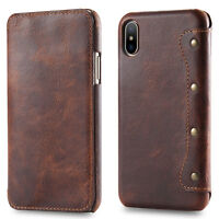 For Apple iPhone X Xs XR Max Genuine Leather Wallet Card Slot Flip Case Cover