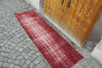 "Vintage Handmade Turkish Oushak Overdyed Kitchen Runner Rug 9'11""x2'11"""