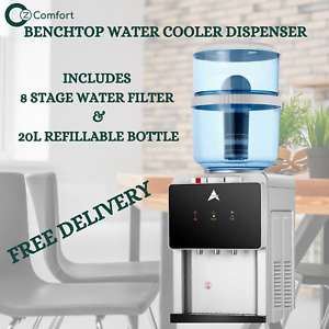 Aimex Benchtop Water Cooler Hot Cold Water 20L Dispenser 8 Stage Water Filter