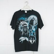 Vintage Wolf tribu Naturaleza Fauna Animal Print T-shirt Tamaño Mediano para hombre R2224