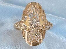 14K Yellow Gold Ring, Old Fashioned Filligree, 2.25mm Diamond, size 8.75