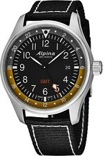 Alpina Men's Startimer Pilot Black Dial Nylon Strap GMT Quartz Watch AL247BBG4S6
