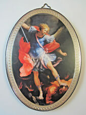 "St Michael Icon Picture on Wood Oval 5 3/4"" Made in Italy"