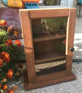 Vintage Folk Art Table Cabinet with Glass Door Handmade