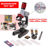 Kids Educational Microscope Magnifier Kit School Science Lab LED 1200x Kids Gift