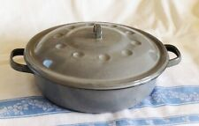 Antique Gray AGATE PAN POT w/ HANDLES & LID ENAMELWARE GRANITEWARE Vintage